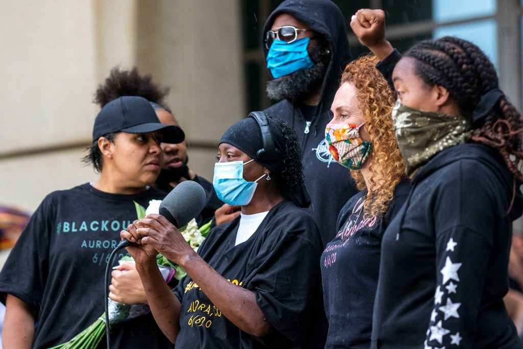 A rally against police brutality in front of the Aurora Municipal Center. June 6, 2020. (Kevin J. Beaty/Denverite)