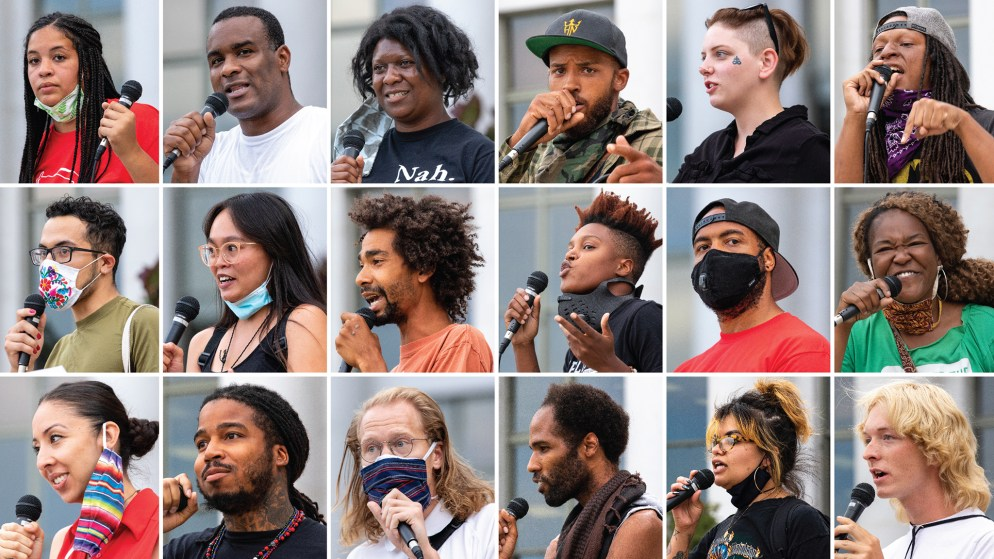 Everyone who spoke at the Denver People's Town Hall on the City and County Building steps on June 29, 2020. (Kevin J. Beaty/Denverite)