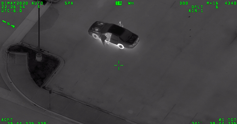 A still from a Denver police helicopter video showing a car William DeBose had been in prior to the shooting on May 1. (Image Courtesy of Denver District Attorney's Office)