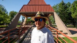 Arturo Rodriguez stands in La Raza Park in Sunnyside, known to him as the Northside. July 1, 2020. (Kevin J. Beaty/Denverite)