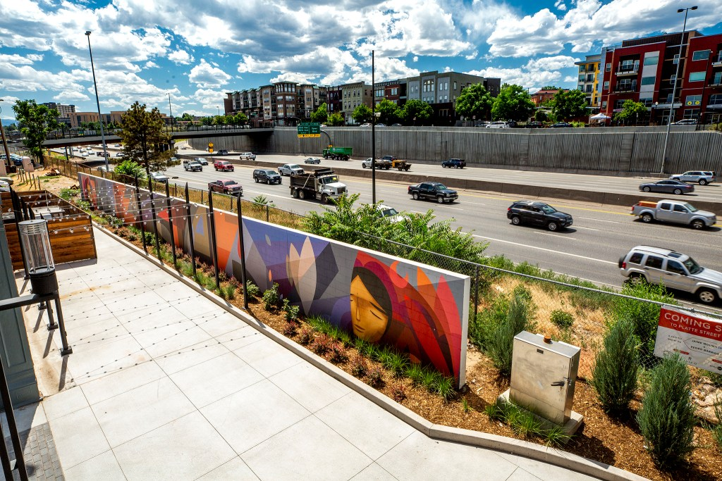 Murals by Jaime Molina gird the Platte Street Plaza in Highland. July 8, 2020. (Kevin J. Beaty/Denverite)
