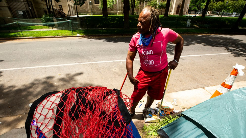 Derrick Haye stands outside of Morey Middle School in Capitol Hill, where he's been living for the last few weeks. July 9, 2020.