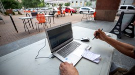 Denver Public Library launched a curbside laptop program at its Central branch. July 14, 2020.