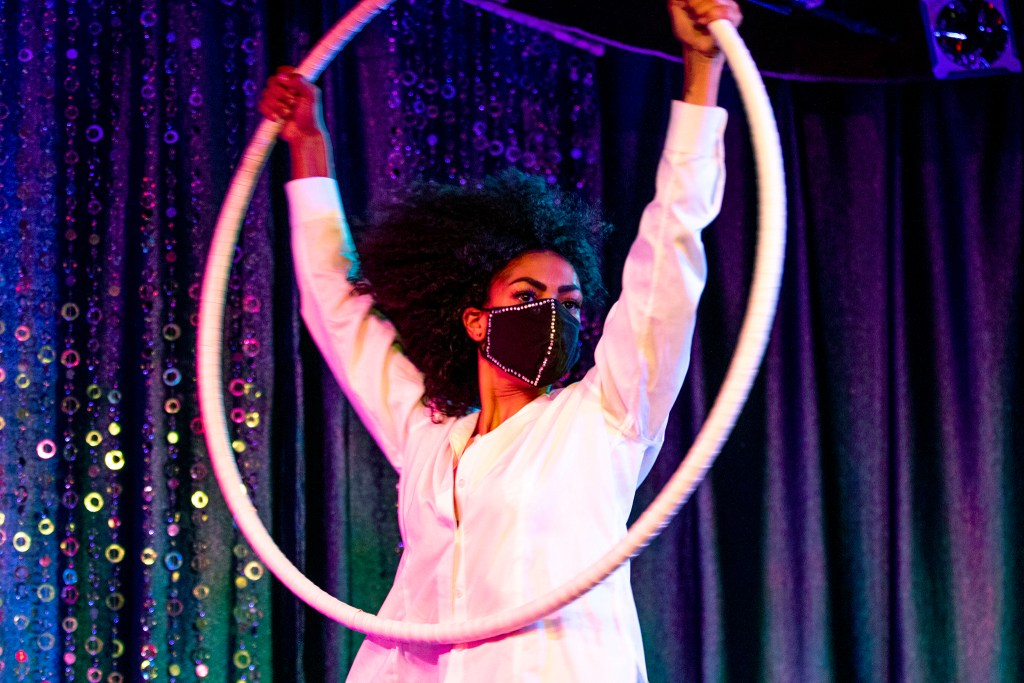 Sierra Champion (AKA Sierra Mai Circus) performs behind a mask during the Clocktower Cabaret's pandemic-appropriate show. July 17, 2020.