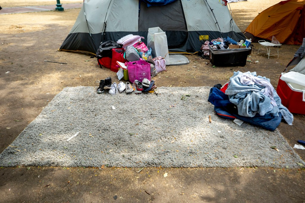 An encampment at Lincoln Park at Lincoln Street and Colfax Avenue, which was surveyed as part of Denver Homeless Out Loud's count of unhoused residents in the city. July 17, 2020.