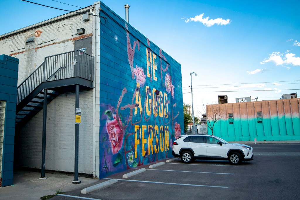 """A """"RIP George Floyd/Be A Good Person"""" mashup mural at 2737 Larimer St. July 29, 2020."""