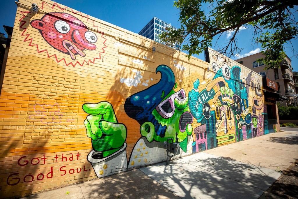 A mural on Dulce Vida, 1201 Cherokee St., by Birdcap (AKA Michael Roy). July 30, 2020.