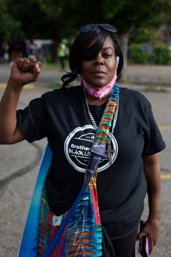 A marcher at the Fourth of July rally in Denver on July 4, 2020