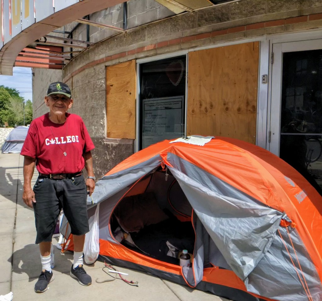 Paul Franco stands next to his tent in Five Points on July 24, 2020. (Donna Bryson/Denverite)