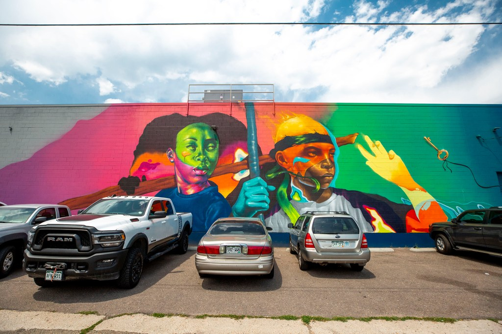 A mural by Detour and Max Sansing on the side of the RedLine Contemporary Art Center, 2350 Arapahoe St. in Five Points. Aug. 5, 2020.
