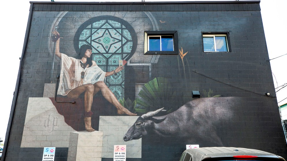 A mural by Forrest J. Morrison on the side of the Diego Pellicer dispensary at Federal Boulevard and Alameda Avenue in Valverde. Aug. 5, 2020.