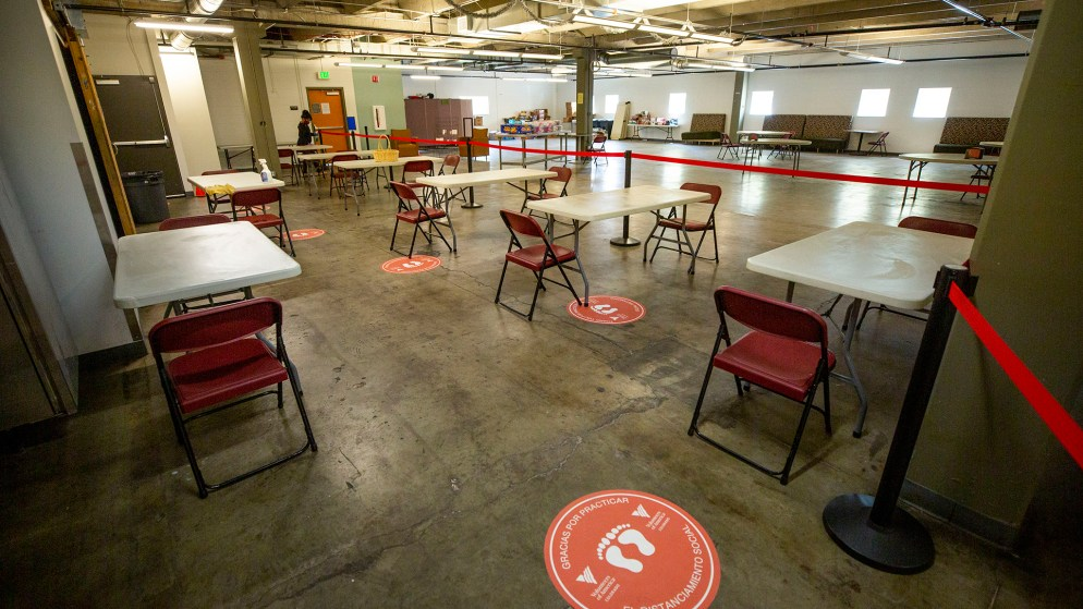 A dining area at Sinton's Sanctuary, the shelter for senior women at the Volunteers of America building on Santa Fe Drive in Denver's Lincoln Park neighborhood. Aug. 14, 2020.