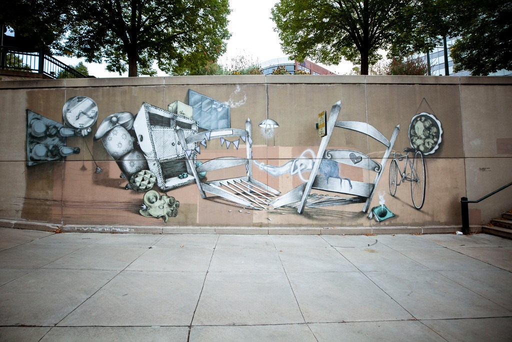 A mural by Ethos and Onesto at Lincoln Street along the Cherry Creek Trail. Sept. 10, 2020.