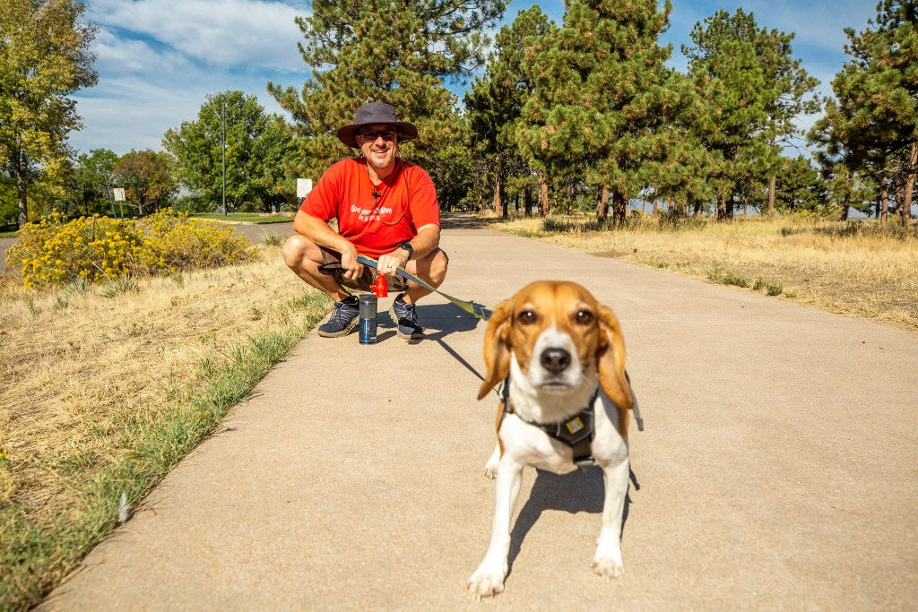 Brian Mabin and Simon take their daily walk around Inspiration Point Park. Sept. 24, 2020.