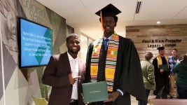 Ousman Ba (left) and Djibril Diol during Diol's CSU graduation ceremony in 2018.  (Photo courtesy of Ousman Ba)