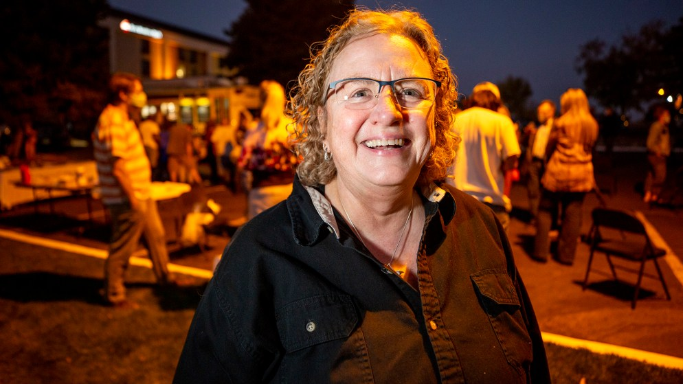 Gina Shimeall, a former public defender who helped  form a nonprofit to address homelessness in Denver's suburbs,  at a meeting in a hotel parking lot on Oct. 6, 2020. (Kevin J. Beaty/Denverite)