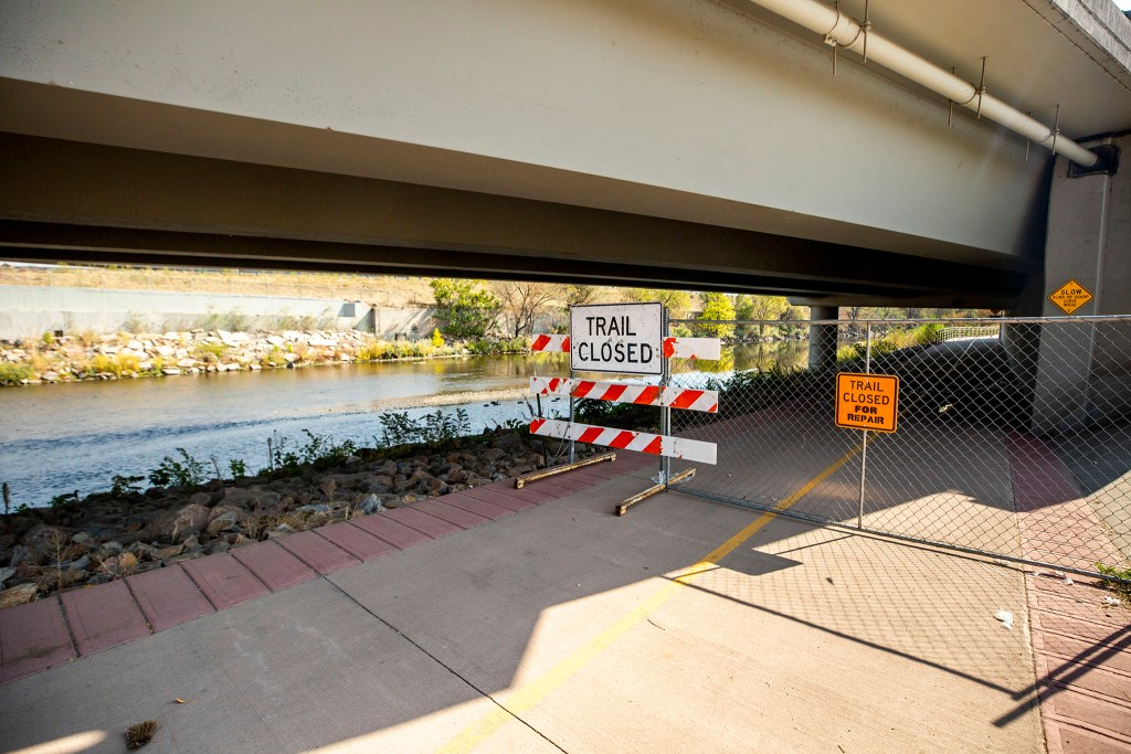 The South Platte River Trail is closed by Vanderbilt Park. At the moment, there is no end in sight for the detour. Oct. 8, 2020.