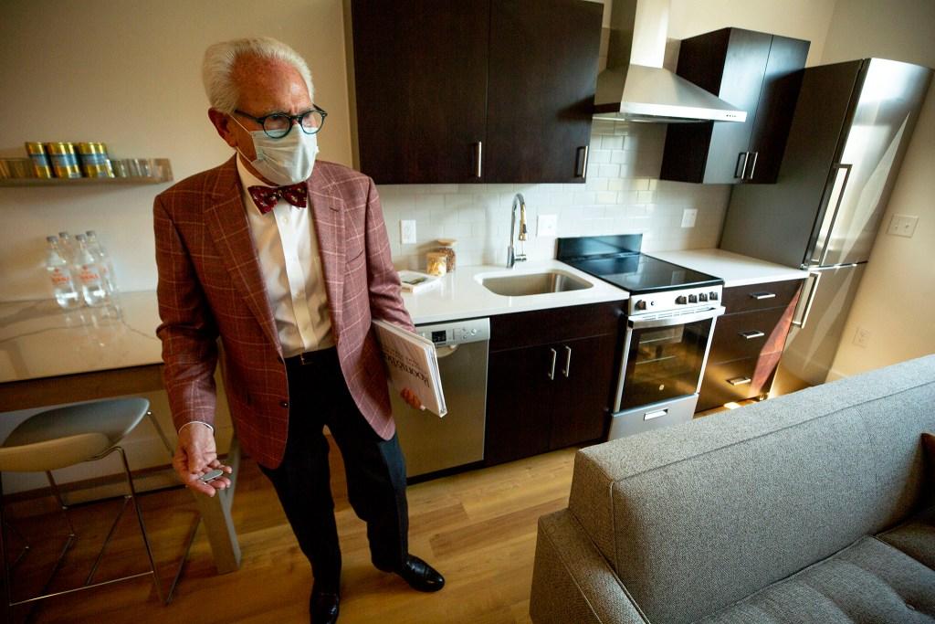 Dapper developer Barry Hirschfeld stands in a micro apartment at 135 Adams St. in Cherry Creek. Sept. 30, 2020.