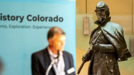 History Colorado Center's Executive Director Steve Turner announces the Civil War monument that once stood on the State Capitol's west steps will live here in the museum for a year. Oct. 14, 2020.