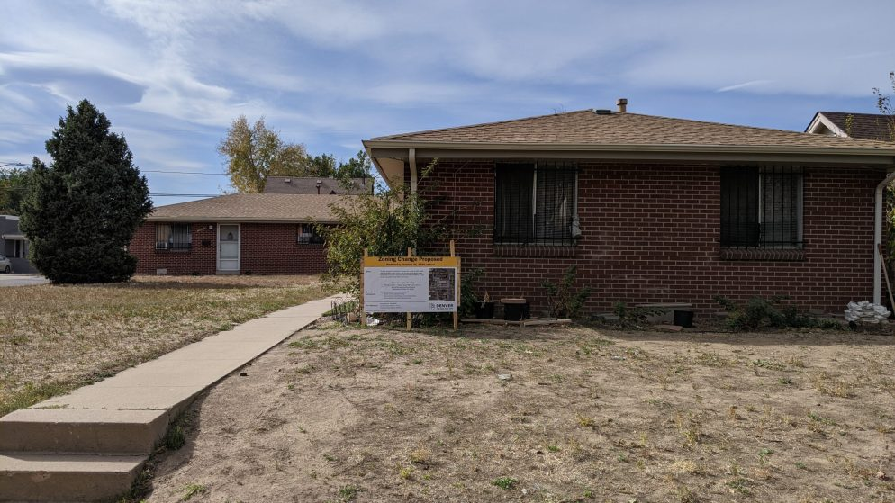 Denver's Planning Board voted on Oct. 21, 2020 to recommend that City Council deny a property owner's request for a zoning change for this lot in Cole. (Donna Bryson/Denverite)