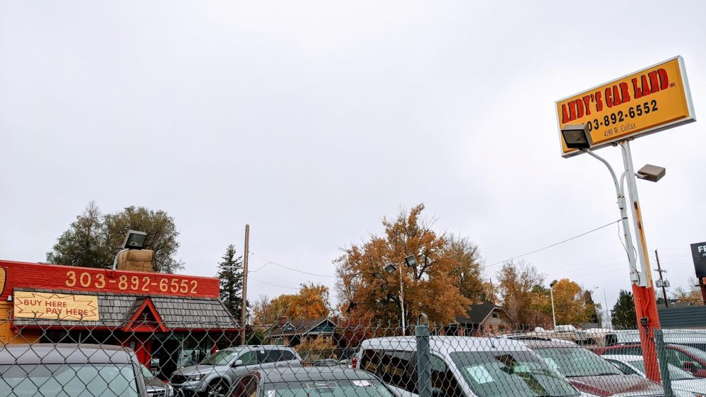 A developer plans to replace this car dealership at 4190 West Colfax Avenue, pictured Oct. 22, 2020, with an apartment building consisting mostly of studios. (Donna Bryson/Denverite)