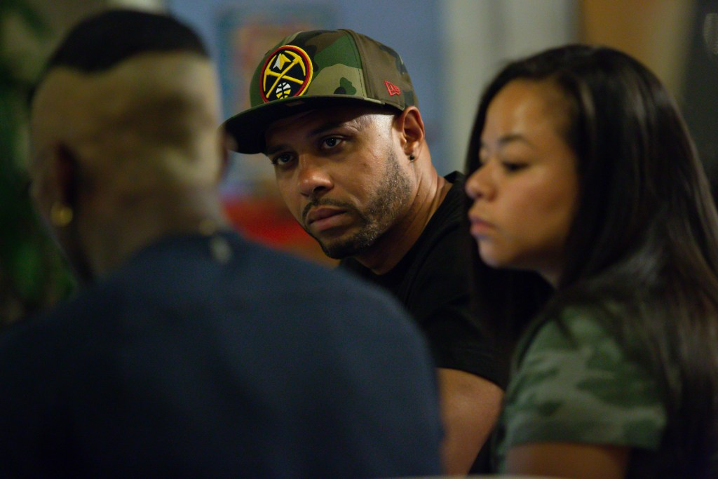 Terrance Roberts meets with members of the activist group he co-founded, Frontline Party for Revolutionary Action, to plan their next protest against police violence in Denver, September 3, 2020.