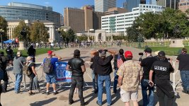 Right-wing protesters and counter-demonstrators faced off, separated by police, in Civic Center Park on October 10, 2020.
