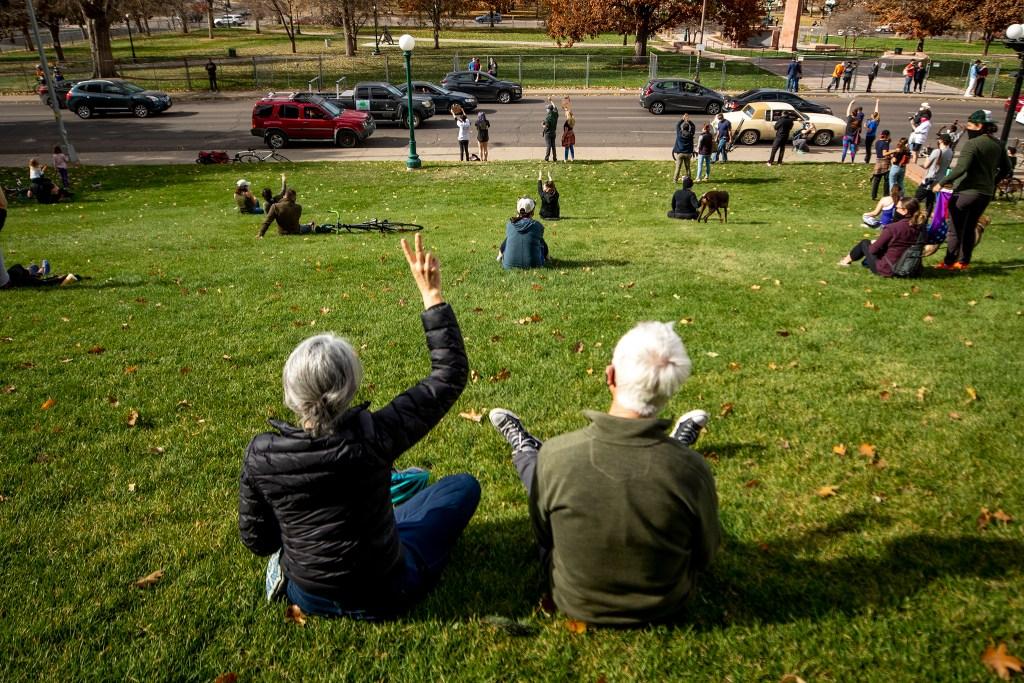 Denverites celebrate Joe Biden's victory in the U.S. presidential election. Nov. 7, 2020.