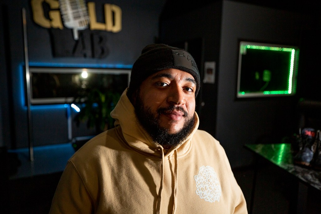 Sekani Turner, Anthony Porch's manager, stands inside the Gold Lab recording studio off West Colfax Avenue. Feb. 13, 2021.