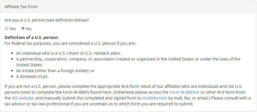 Fill out HostMonster Affiliate Tax form for Non-US individuals - 1