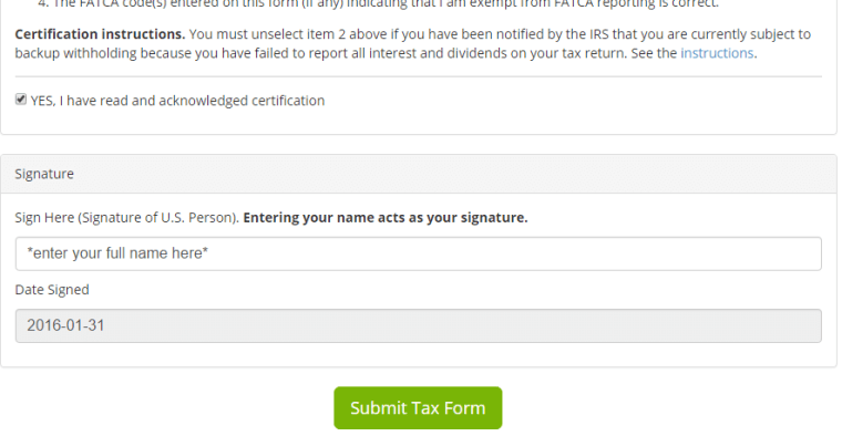 Fill out HostMonster Affiliate Tax form for US individuals - Step 2