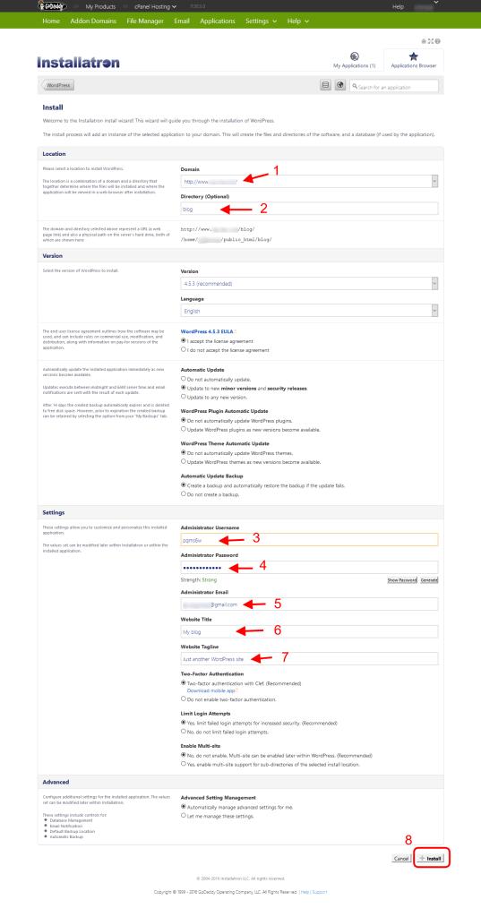 Installing WordPress on GoDaddy Hosting - Setting Installatron Info