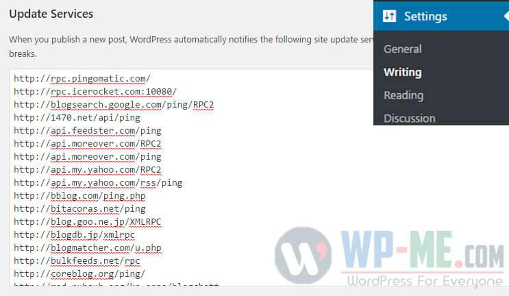 How to add WordPress Ping List