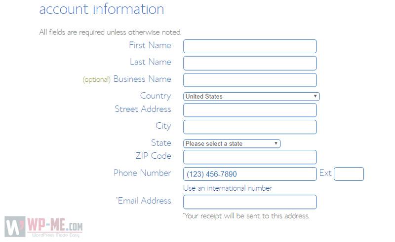 Create a blog - enter account information