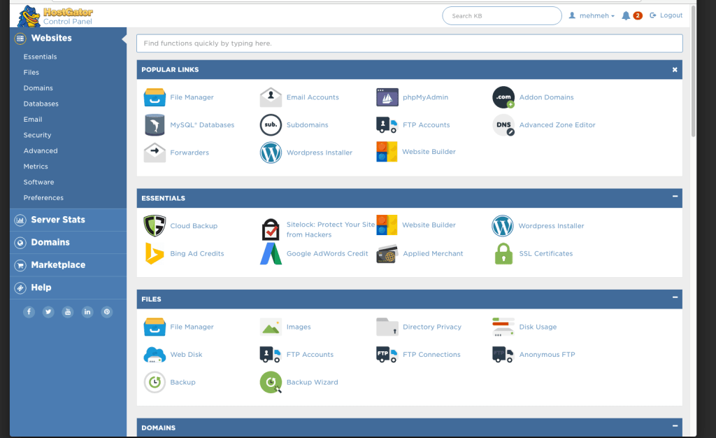 HostGator Control Panel (cPanel)