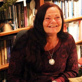 Morgana Sythove with her esoteric library of books in the Netherlands, interview with Sorita d'Este about Wicca, Paganism