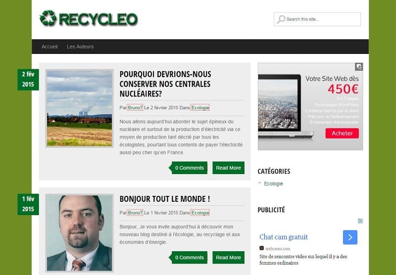 Accueil du blog sur l'écologie, le recyclage et l'environnement www.recycleo.net qui utilise le thème gratuit GreenChilli et sa traduction en français..