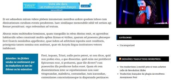 Fichiers .po et .mo de la traduction française du plugin WP In Post Ads