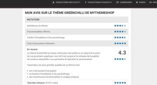 Découvrez la présentation et la traduction en français du plugin WP Review Pro.