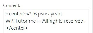 Screenshot of the code for the copyright message showing the shortcode [wpsos_year]