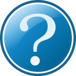 A blue circle similar to the WordPress logo with a question mark inside of it