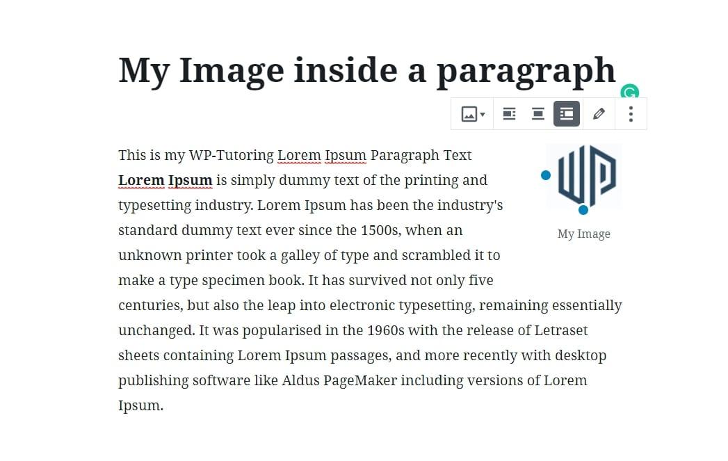Image left aligned inside paragraph block.
