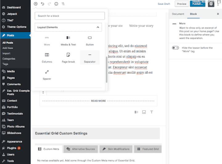 WordPress 5.0 Gutenberg Seperator Block