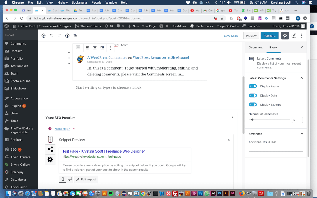Adding Latest Comments to Gutenberg – WordPress 5.0