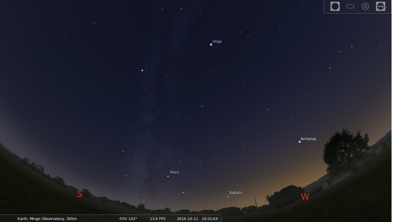 October 11, 2014, SW at 7:30 PM, bright planets Saturn and Mars above the horizon.