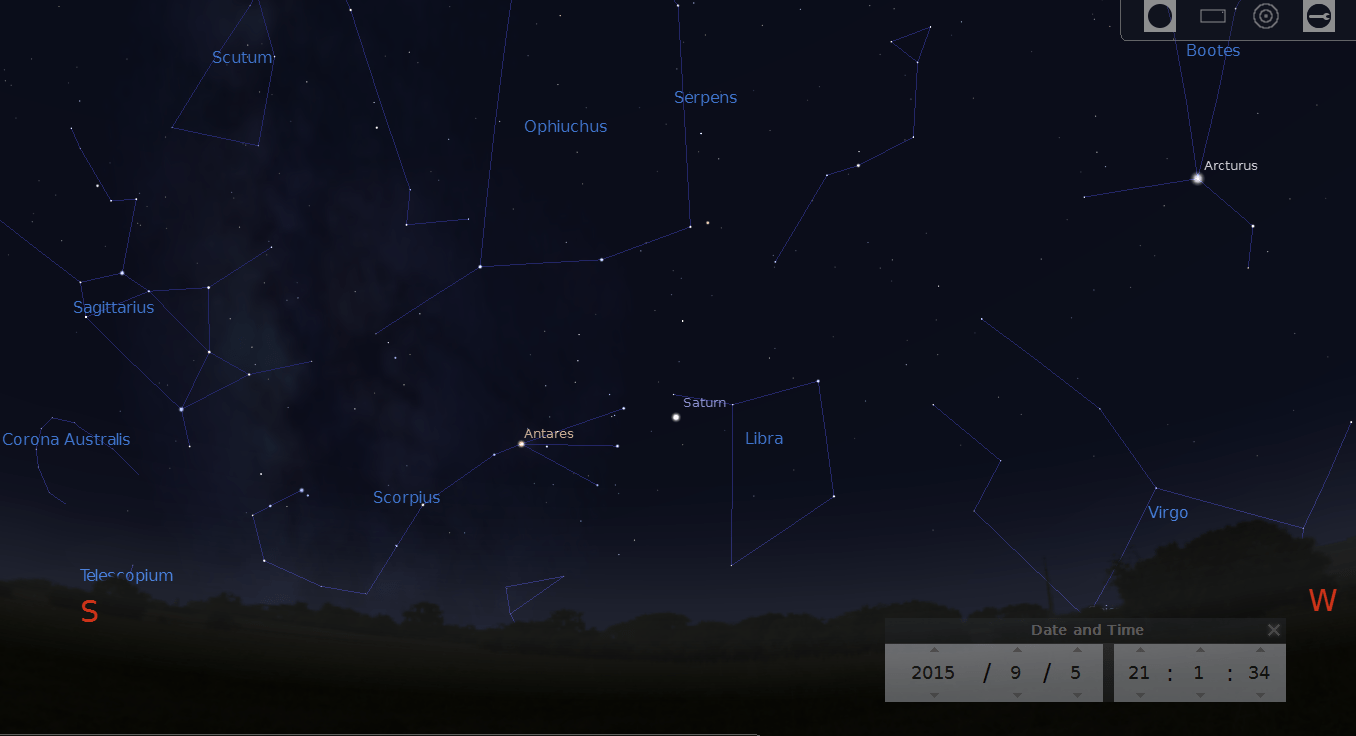 Stellarium Screen Capture, 9PM, September 5, 20015 South West view.