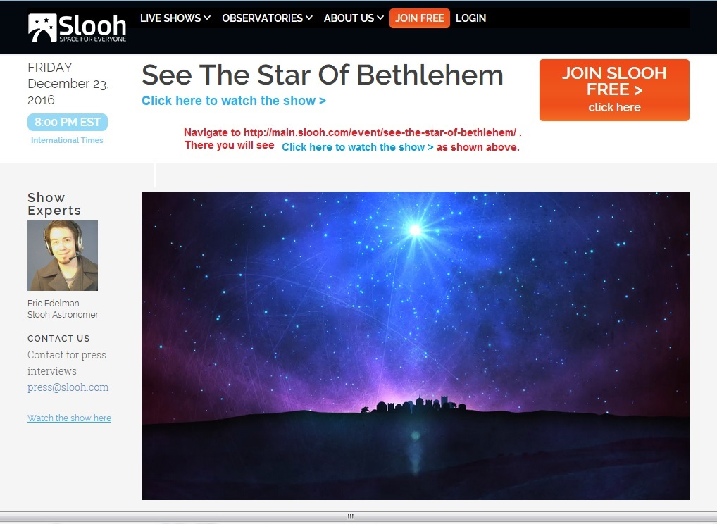 Star of Bethlehem Webcast from Slooh, Religion and Science Experts Meet to Discuss Possible Explanations
