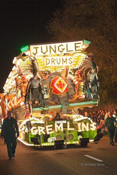 Jungle Drums by Gremlins Carnival Club in portrait format. Winner of the Feature class and overall winner at the 2011 Glastonbury Chilkwell Guy Fawkes Carnival.