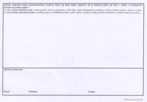 Prihláška trvalého pobytu strana 2.