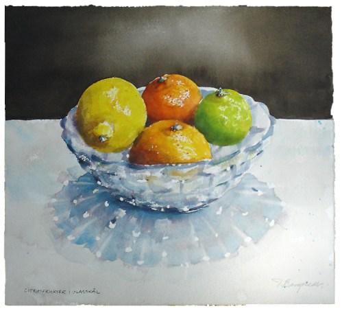 citrus frukter i glasskal